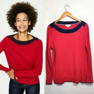 Boden Louisa Red Wool Blend Sweater Sz Large